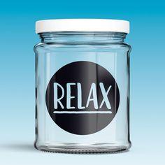 Vinilos Decorativos: Relax. Vinilo para decorar frasco de cristal o tarro, jarra de cristal... #jarra #tarro #frasco #decoración #vinilo #manualidades #TeleAdhesivo