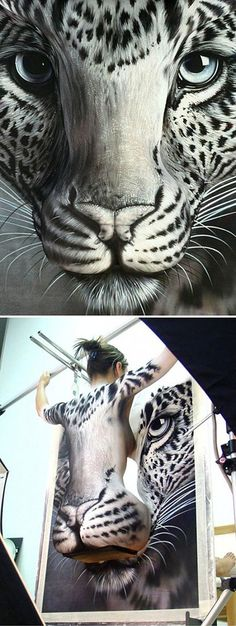 leopard..did you notice it was live art at first?