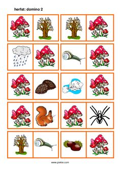 * Herfst: Domino! 2-4 Class Games, Fall Projects, Dominos, Fall Crafts, Activities For Kids, Bingo, Seasons, Holiday Decor, Printables