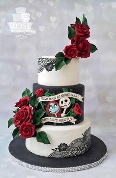 Gothic and Elegant Wedding Cake by Rose Dream Cakes - http://cakesdecor.com/cakes/261681-gothic-and-elegant-wedding-cake