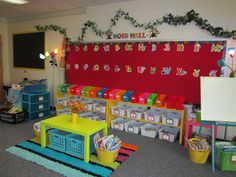 Great post with tons of ideas for your classroom set up- love the word wall focus wall right behind all the book baskets!