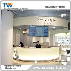 TW Artificial stone information counter , information desk furniture , service counter for mall Reception Desk Design, Reception Counter, Corian Solid Surface, Service Counter, Executive Office, Kitchen Countertops, White Marble, Free Design, Artificial Stone