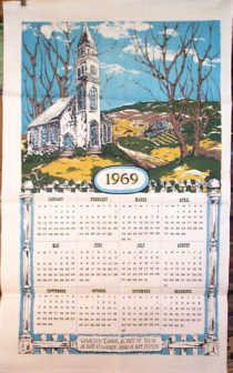 Vintage Calendar Towel 1969 Vintage Calendar Calendar