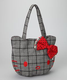 Take a look at this Hello Kitty Black & White Plaid Bag by Hello Kitty on #zulily today!