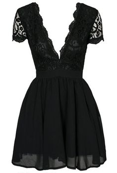 Deep V Neck Lace Pleated Dress Mobile Site