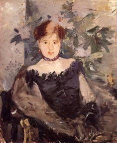 Berthe Morisot - le Corsage Noir (The Black Corsage), 1878 at National Gallery of Ireland - Dublin Ireland (by Mary Cassatt, Edouard Manet, Pierre Auguste Renoir, Camille Pissarro, Anime Comics, Black Corsage, French Impressionist Painters, Pop Art, The Woman In Black