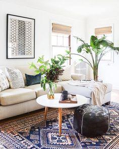 Plants and rug boho living room