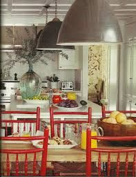 Peter Dunham, House Beautiful Industrial Pendants over kitchen island and table. Painted Kitchen Tables, Kitchen Dining Sets, Kitchen Family Rooms, Cozy Kitchen, Dining Area, Kitchen Island, Kitchen Ideas, Beautiful Dining Rooms, Beautiful Kitchens