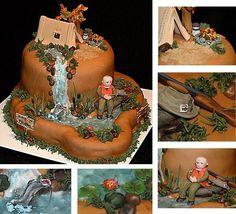 Camping Hunting Fishing Birthday Cake on Cake Central Birthday Cakes For Men, Hunting Birthday Cakes, Fish Cake Birthday, Birthday Cake For Husband, Birthday Ideas, 50th Birthday, Hunting Cakes, Birthday Sayings, Birthday Stuff