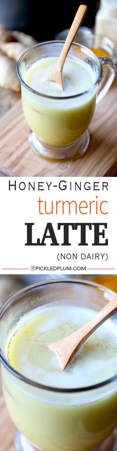 Honey Ginger and Turmeric Latte (Non Dairy) - This spicy honey, ginger and turmeric latte is the perfect beverage to soothe a sore throat, achy head and stuffed up nose. Make yourself a cup in the morning (with a shot of coffee) and before bedtime for a r