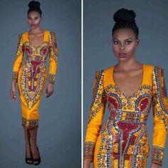 Original Yellow Vlisco Angelina Dress by AFRICANISEDSHOP on Etsy