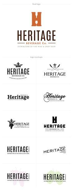 Logo Design for Heritage Beverage Co. by Melissa DesAutels, via Behance Restaurant Branding, Logo Branding, Branding Design, Logo Design, Label Design, Winery Logo, Craft Logo, Luxury Logo, Wine Brands