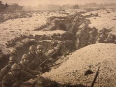 French Infantry hold down the trenches against the advancing Germans.