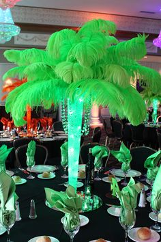 Neon Feather Tree Centerpiece with Aqua Gems