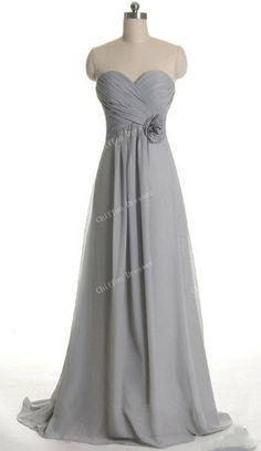 Sweetheart Grey Bridesmaid Dress Long Chiffon by chiffondresses, $98.00