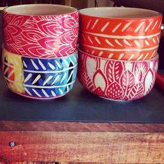 Resultado de imagen para bachas y platos de ceramica esgrafiadas