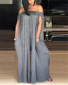 Get an instant style update this season with this casual jumpsuit. This is a plain, split sleeve, off shoulder, all-in-one jumpsuit. This regular jumpsuit is made from polyester Long Jumpsuits, Jumpsuits For Women, Playsuits, Grey One Piece, Casual Jumpsuit, Jumpsuit With Sleeves, Pattern Fashion, Fashion Boutique, Lazy Outfits