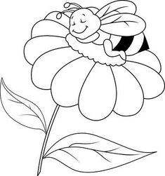 Illustration of Bee sleeping on flower vector art, clipart and stock vectors. Flower Embroidery Designs, Embroidery Patterns, Animal Coloring Pages, Coloring Books, Easy Disney Drawings, Sleeping Animals, Bug Crafts, Drawing Templates, Stock Pictures