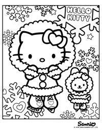 Winter Hello Kitty Coloring Page