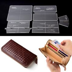 Leather Craft Acrylic Long Wallet Pattern Stencil Template Tool DIY Set for sale online Leather Diy Crafts, Leather Gifts, Leather Craft, Diy Coin Purse, Leather Wallet Pattern, Diy Wallet Pattern, Pattern Sewing, Leather Purses, Leather Handbags