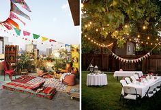 The Easiest Engagement Party Decorations...Ever: Bunting, garland, and string lights are all among the quickest and simplest ways to decorate an outdoor space. From rooftops to backyards, hang strings of light and bunting in your theme for instant atmosphere. Use papel picado and paper lanterns for a boho-meets-fiesta bash (above, left) or charming floral fabrics for traditional decor (above, right).