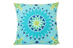 Blue Green Schumacher Soleil LA Sunburst by ThePillowStudioShop