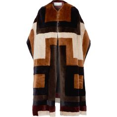 Gabriela Hearst Mira reversible patchwork shearling coat (705855 RSD) ❤ liked on Polyvore featuring outerwear, coats, jackets, brown, brown shearling coat, multi colored coat, sheep fur coat, shearling coat and reversible coats