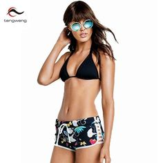 Halter Padded Bikini Set Floral Print Swimsuit Shorts Bathing Suit https://www.stylishntrendier.com/