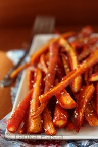 Roasted Carrot Sesame Sticks with Garam Masala (Masala is a blend of pepper, cloves, cardamon, cinnamon  cumin)