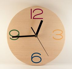 Solid white beech wood, silent mechanism, modern colors and design, provide ideal combination for your home and working space.    Dimensions: 20cm ( 7,87 inches)     Modern Wall Clock Wood Home Minimalism Red Blue by HandmadeArt22, $32.00