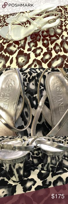 Chanel metallic heels Beautiful metallic 1 inch heels.  Very classy.  A few minor scuffs on heels, otherwise in great condition.  No box.  Bundle more than one item to save ❤️ CHANEL Shoes Heels