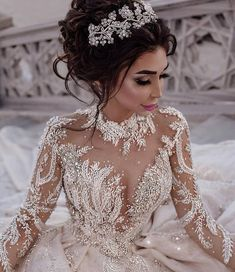 Custom Wedding Dresses and Bridal Gowns from The USA This beaded long sleeve bridal gown has tons of bling. We are US dressmakers who specialize in cust Princess Wedding Dresses, Dream Wedding Dresses, Bridal Dresses, Wedding Gowns, Dresses For 15, Elegant Dresses, Sexy Dresses, Beautiful Dresses, Wedding Venues