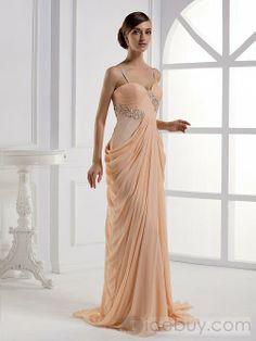 A-ラインロングフロア細い肩紐プロム/イブニングドレス