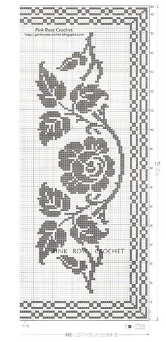 This Pin was discovered by zri Cross Stitch Rose, Cross Stitch Borders, Cross Stitching, Cross Stitch Embroidery, Doily Patterns, Easy Crochet Patterns, Crochet Designs, Filet Crochet Charts, Crochet Diagram
