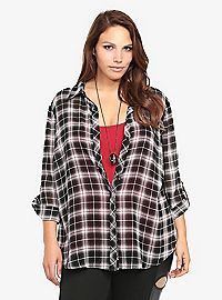 TORRID.COM - Plaid Chiffon Tunic Top