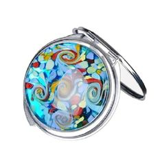 Mad Style Glass Art Compact Mirror, Color Swirl