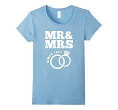 Women's 40th Wedding Anniversary Gift T-Shirt Mr & Mrs Since 1977 Large Baby Blue
