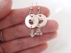 Heart Earrings of Fine Silver or Pure Silver with Sterling Dangles   GildedOwlJewelry - Jewelry on ArtFire
