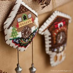 darling cuckoo clocks in counted thread embroidery