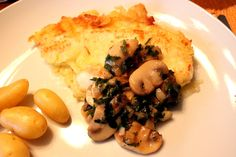 Plaice Fillets with my very own potatoes from my balcony, served with funghi triffolati