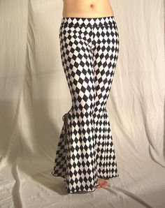 Flare tribal pants  black and white jester  YOUR SIZE by creaturre, $60.00