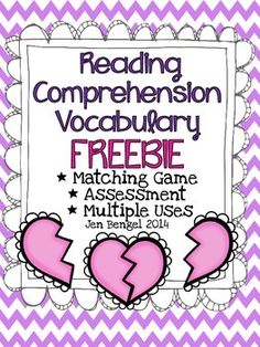 {FREEBIE} Teach, practice, and assess students' understanding of reading comprehension vocabulary (to infer, make predictions, visualize, analyze, critique, make connections, synthesize, and summarize).  Happy Valentine's Day!!