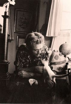 James Dean with his siamese kitten Marcus
