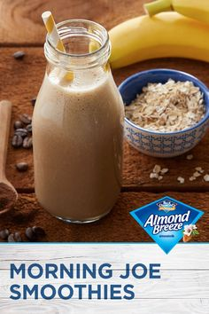 Slurp don't sip your coffee! Almond Breeze Almondmilk's Morning Joe Smoothie will have you gulping … Energy Smoothies, Fruit Smoothies, Healthy Smoothies, Healthy Drinks, Healthy Snacks, Healthy Recipes, Ketogenic Recipes, Keto Recipes, Breakfast Smoothies