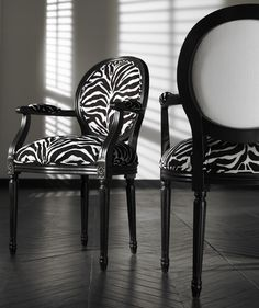 Front And Back View Of Josephine Chairs In Zebra Print