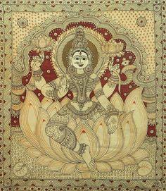 Lakshmi - Hindu Goddess of Wealth and Prosperity - Kalamkari Painting