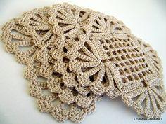 "PDF Crochet Pattern ""Vintage Doily Look"" Coaster, Ecru Crochet Lace Coaster PDF, Shabby Chic Decor, Lyubava Crochet Pattern number 15, via Etsy."