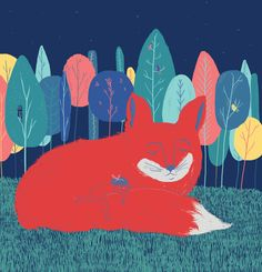 Luz y zorro by Lupe Bracaccini, via Behance Class Decoration, Illustrators, Woodland, Moose Art, Graphic Illustrations, Behance, Bulletin Board, Projects, Fun