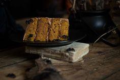 Halloween pumpkin and chocolate cake