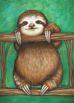 Baby Sloth art print 5x7 by TheArtofMeganMars on Etsy